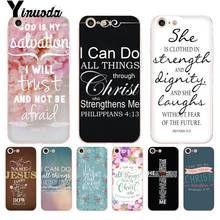 Yinuoda For iphone 7 6 X Case Bible verse Philippians Jesus Christ Christian Phone for iPhone 8 6S Plus 10 5 5S XS XR