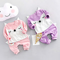 2017 New Spring Long Sleeve Baby Girls Kids Sweet Cartoon fox pullovers + pants Infants 2pcs clothing set S4701