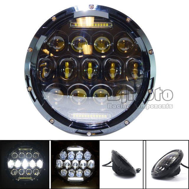 "7"" Projector Daymaker Round 75W 7500LM Hi/Low Beam Motorcycle LED Headlight Bulb DRL for Harley Davidson"