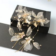 super-fairy sweet Silk Flower Clip Earrings New brides headdress wedding forest model accessories