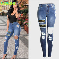 2018 women clothing Mid waist hole camouflage spliced washed denim pants Female casual fashion skinny stretch cotton jeans AM125