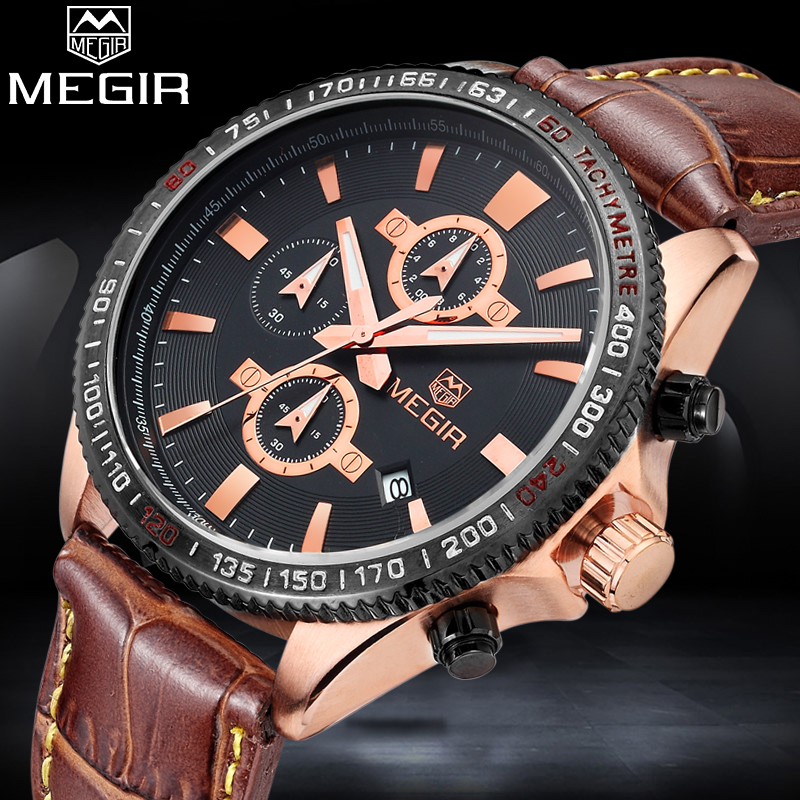 MEGIR Luxury Brand Man Fashion Quartz Military Watch Men Sport leather Analog Clock Male Waterproof watches Relogio Masculino weide popular brand new fashion digital led watch men waterproof sport watches man white dial stainless steel relogio masculino