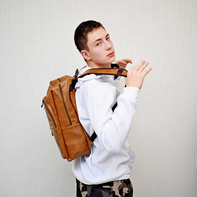 Fashion Men Backpack Waterproof PU Leather Travel Bag Man Large Capacity Teenager Male Mochila Laptop Backpacks 4
