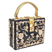 Luxury Box shape Tote Women Handbag Brand Acrylic Relief Black Evening Clutch Bag Ladies Prom Party