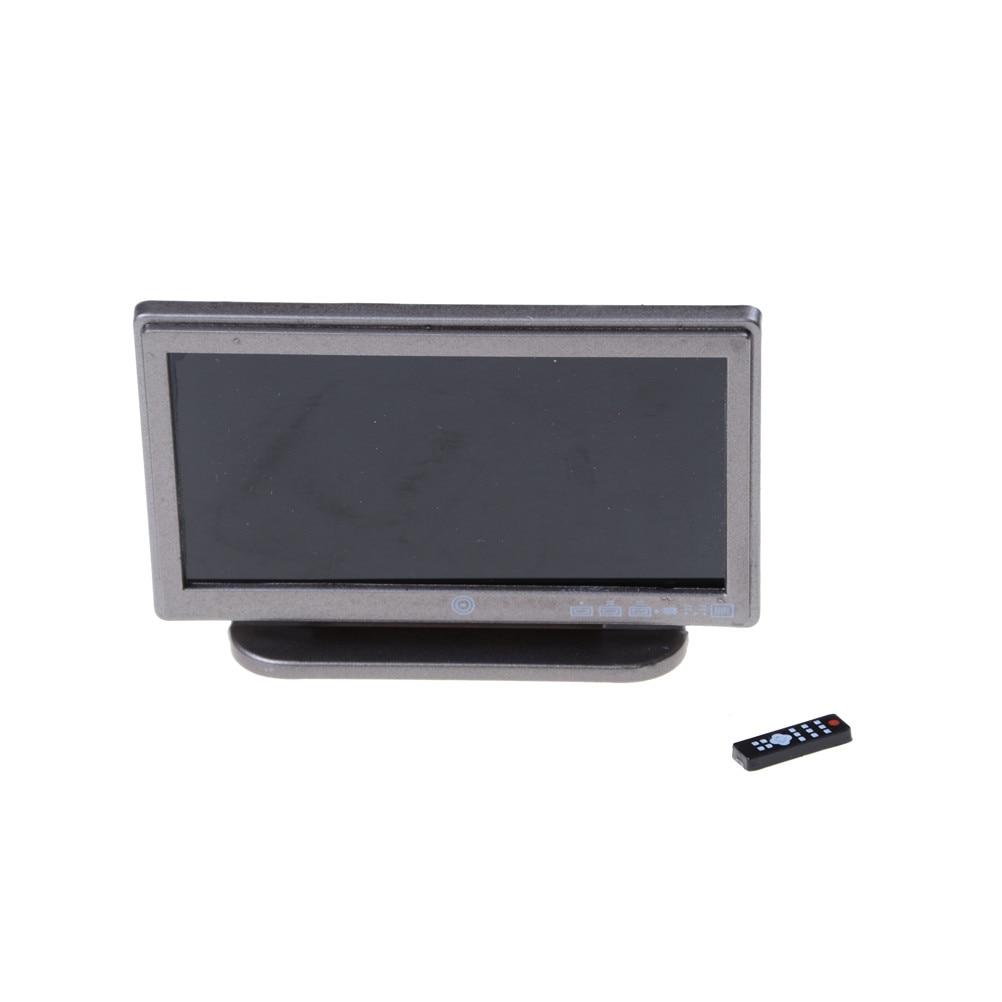 Eerlijk Nieuwste Classic Fantasiespel Accessoire Speelgoed Voor Kind Poppenhuis Miniatuur Wide Screen Televisie Flat-panel Lcd Tv W/remote Grijs Op Reis