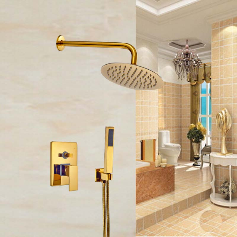 Modern 10 Rainfall Shower Head Bath Shower Faucet Wall Mount Bathroom Shower Mixer tap yanksamrt bathroom thermostatic control valve shower mixer tap faucet wall mount bathroom shower