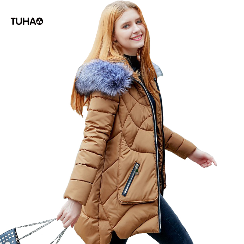 TUHAO 2017 Winter Jackets and Coats Women Faux Fur Trim Hooded Pockets Casual Parka Warm Outerear Manteau Femme Hiver TRP801 tuhao lady down cotton pure color manteau femme hiver thick warm jackets 2017 new autumn winter women hooded long coats lw20