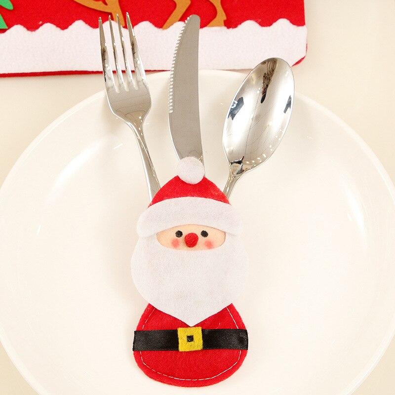 Шляпа Санты, олень, Рождество, Год, карманная вилка, нож, столовые приборы, держатель, сумка для дома, вечерние украшения стола, ужина, столовые приборы 62253 - Цвет: H12