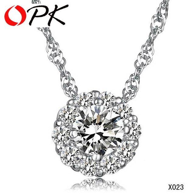 OPK JEWELRY Free Shipping White gold GP 925 Silver Pendant crystal pendant arrogant ball Pendant BIg Crystal inlay very nice 023