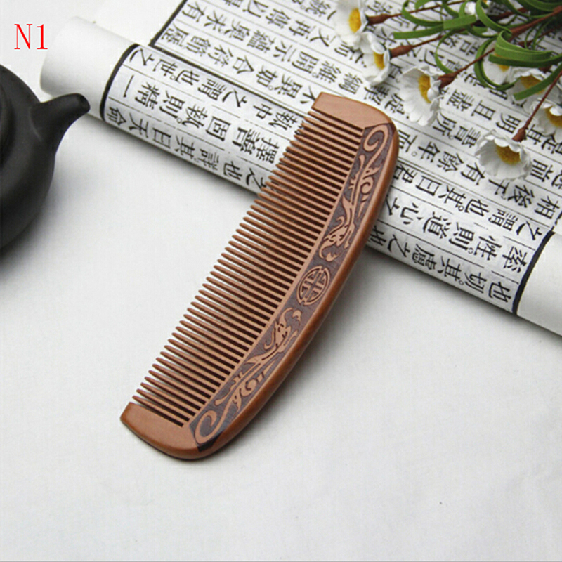 Image 4 - 1pcs Anti Static Comb Natural Peach Solid Wood Comb Engraved Peach Wood Healthy Massage Hair Care Tool Beauty Accessories-in Combs from Beauty & Health