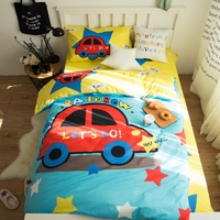100 Cotton Car Duvet Cover Set For Children Twin Size Bedding Set Yellow Bed Sheet Pillow