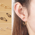 Women's Fashion Safety Pin Ear Studs Clip-On Copper Earrings Creative Jewelry BPGG