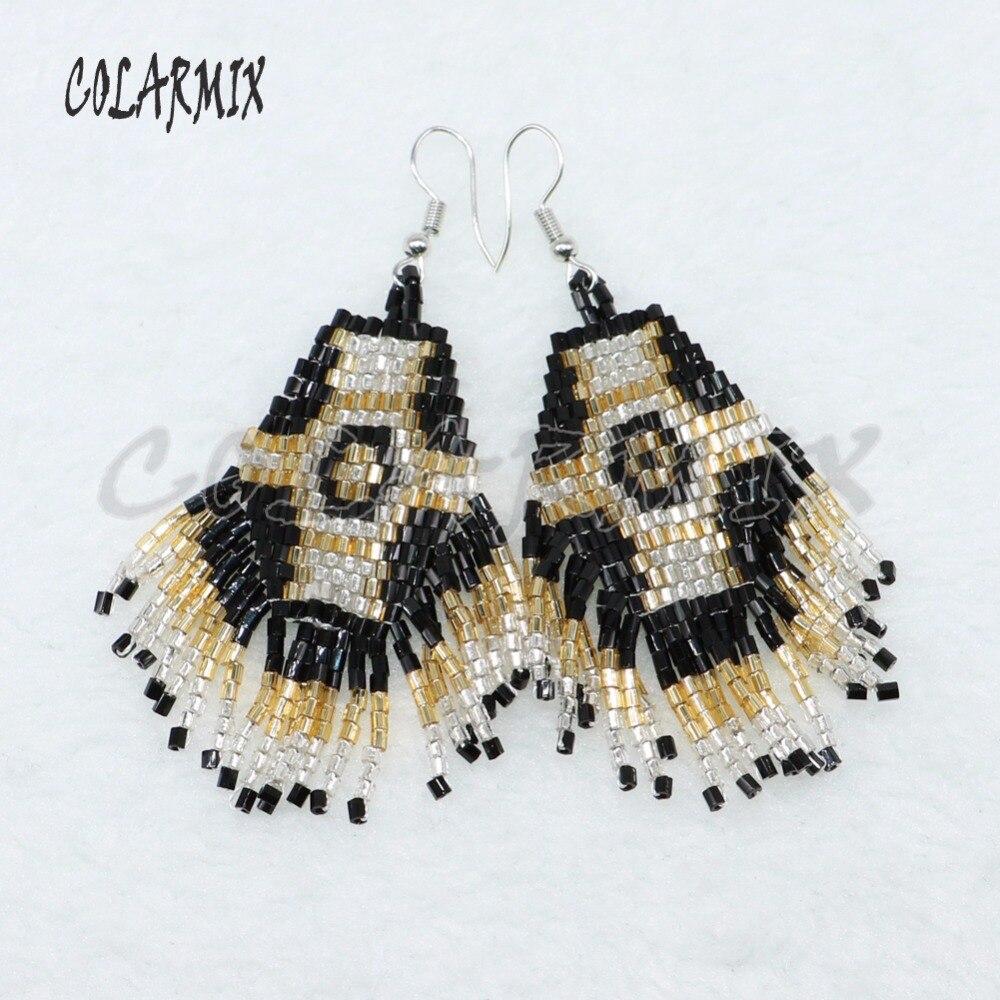 5 Pairs Beaded Earrings,glass Beads Weaving Earrings Dangle Earrings Mix Colors Stone Wholesale Jewelry For Women 4811