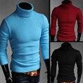 Nova alta qualidade camisola de malha de tricô outono inverno dos homens camisola de gola alta Jumpers bordado Blusa Masculina MQ207