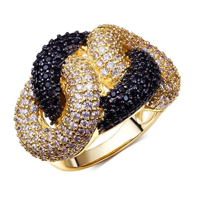 Woman's Big Engagement Rings18k Gold Plated With AAA CZ Stone Weave Design Black & White Contrast Rings Full Size 5,6,7,8,9,10