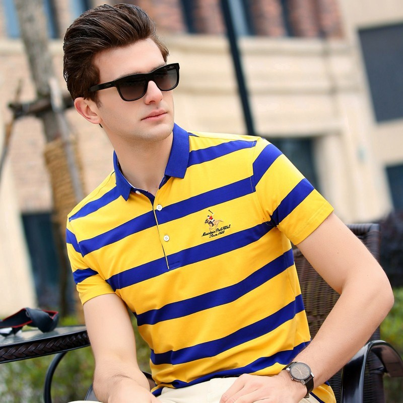 Top Solid Wide-waisted 2019 Brand Summer High Quality New Male Cotton Short Sleeve   Polo   Shirt Men Striped Shirts Top Fashion