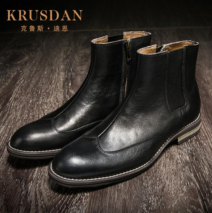 [krusdan]brand Fashion Mens Ankle Boots Genuine Leather Comfortable Slip On Luxury Retro Men Business Shoes For Wedding krusdan luxury brand platform man handmad outdoor ankle boots genuine leather round toe classic men s cowboy martin shoes
