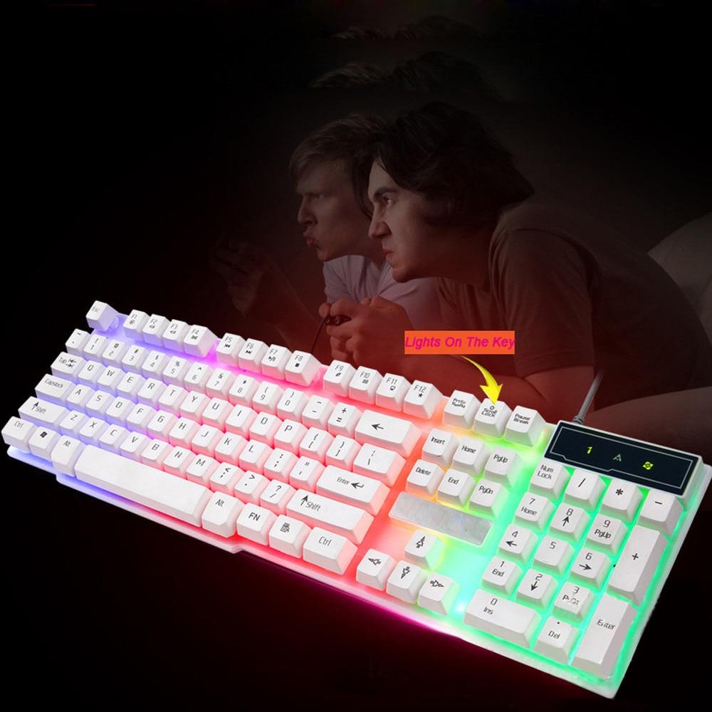 2018 New Gaming Keyboard USB Rainbow Gaming Keyboard+Mouse Colorful Crack LED Illuminated Backlit A.20