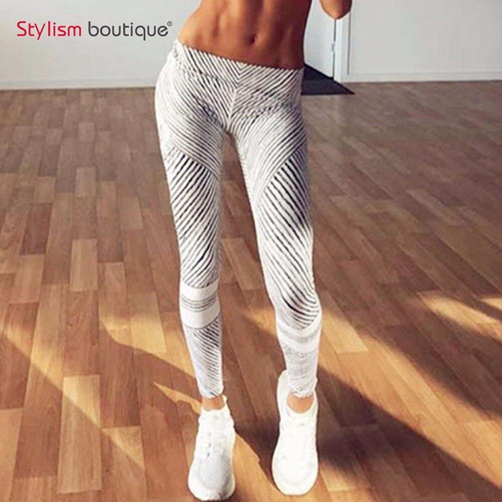 New Women Fashion Leggings Black and White Stripes Slim Pink Fitness Woman leggins Pencil Pants