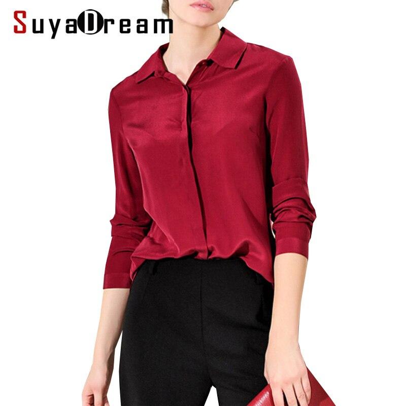 Women SHIRT Solid Button top shirt 100 Natural silk casual shirt Blusas femininas 2019 New Office