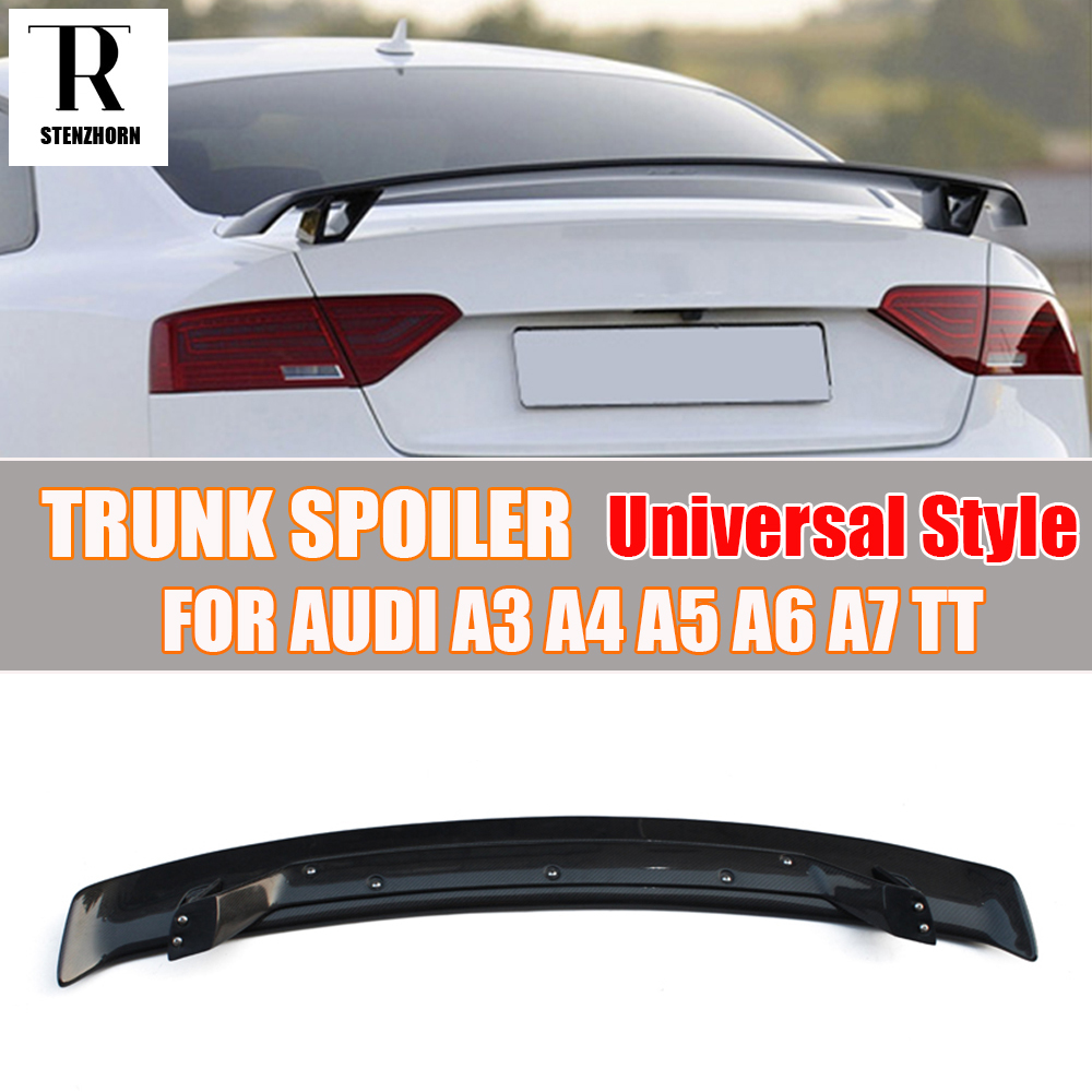 Carbon Fiber Universal Style Rear Trunk Wing Spoiler for Audi A3 S3 A4 A5 A6 A7 TT Tail Boot Lip Wing Spoiler a4 b7 rear roof lip spoiler wing for audi a4 b7 2005 2008 carbon fiber abt style