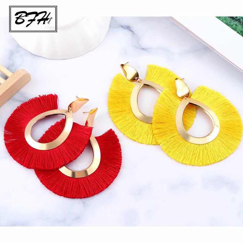 BFH Fashion Bohemian Big Tassel Earrings Statement Large Handmade Brincos Drop Dangle Tassel Earring for Women Za 2019 Jewelry