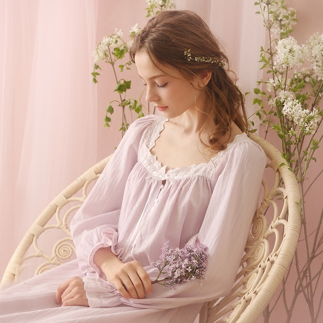 Free Shipping 100% Cotton Princess Nightdress Royal Pijamas Pink and Purple  Nightgown Women s Long Sleepwear 135054f17