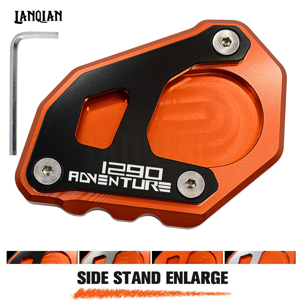 Hot For KTM 1290 Super Adventure R All Years Motorcycle Kickstand Side Stand Plate Pad Enlarge Extension With LOGO