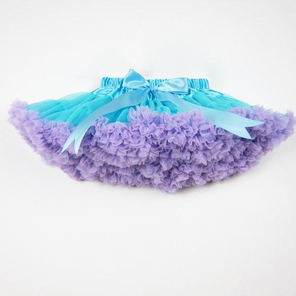 Горячая распродажа пушистая шифоновая пачка для маленькой девочки юбки для девочек юбка принцессы пачка от 2 до 10 лет - Цвет: blue with purple