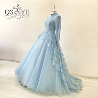 Elegant Blue High Neck Long Sleeves Muslim Lace Evening Dresses 2017 Real Photos Appliques Tulle Arabic