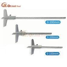 Высокое качество 0-150 мм 0-200 мм 0-300 мм Глубина штангенциркуль 0-160 мм глубина измерительный инструмент транспортир
