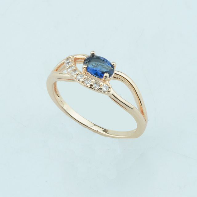 FJ 7MM Women Bride Fine 585 Gold Color Royal Blue Stone Rings