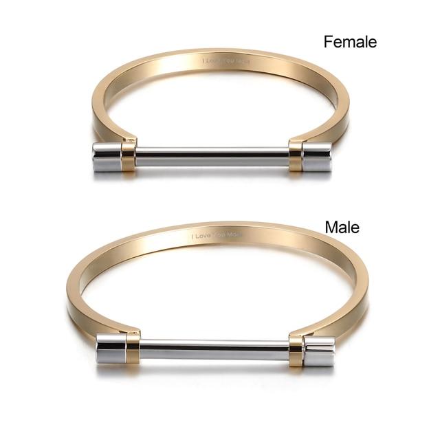 Stainless Steel Screw Cuff Bangle Bracelet Women Men bPCrMes