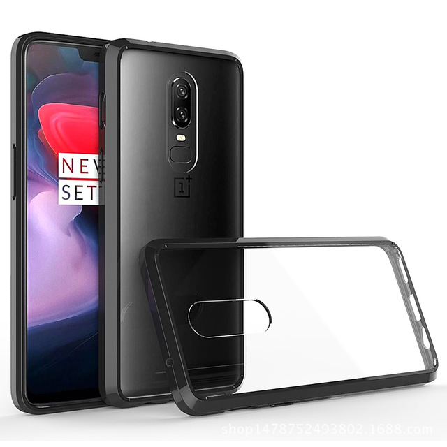 db59e3a30f1 For Oneplus 6 Case TPU Bumper + Hard PC Acrylic Clear Hybrid Transparent  Crystal Phone Cover Case For One plus 6 Oneplus6 Coque