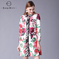 SEQINYY Fashion Trench Coat Autumn Winter 2018 New Women's 6XL Rose Buttons Flowers Printing Long Sleeve Long Jacquard Coat