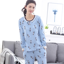 2017 Autumn And Winter Women's Sleepwear Spring Full-sleeve Pure Cotton Casual Pullover Lounge Female At home Pajamas Set