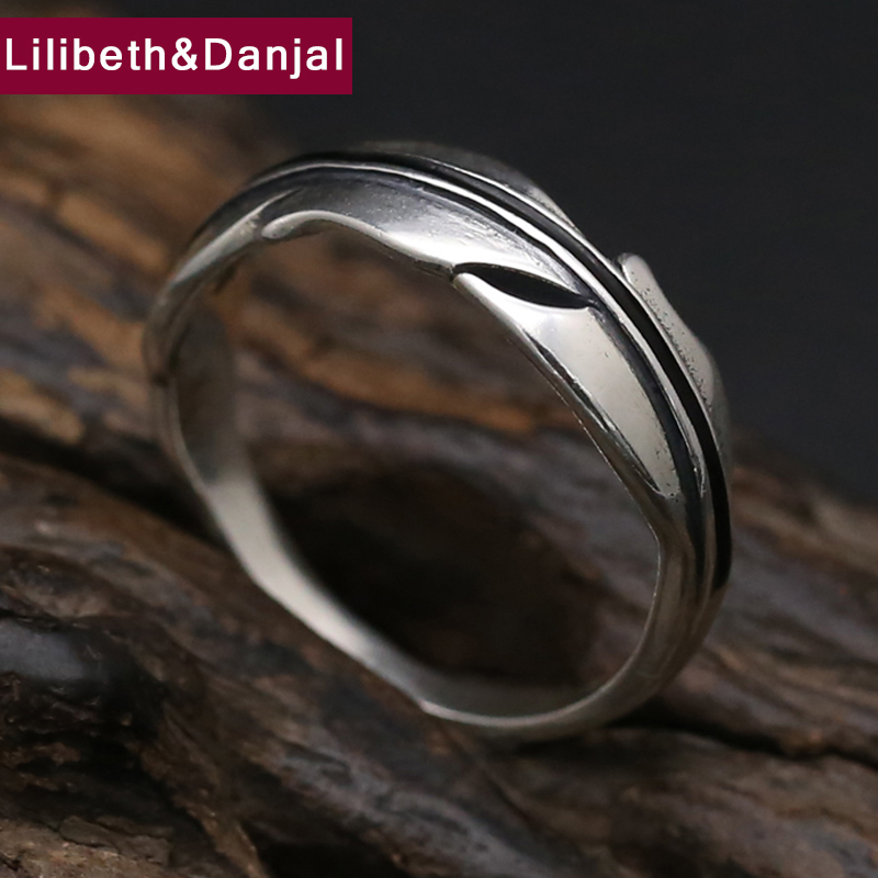 Tree Leaf <font><b>925</b></font> <font><b>Sterling</b></font> <font><b>Silver</b></font> <font><b>Ring</b></font> <font><b>Men</b></font> Jewelry Vintage Finger Engagement <font><b>Ring</b></font> Gift Fine Jewelry R27 image
