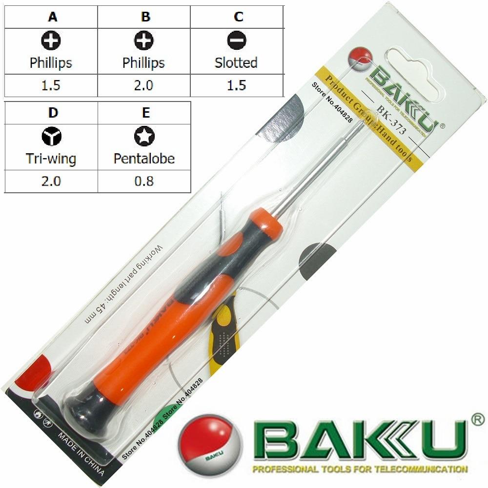 Precision Screwdriver for Repair.Cross1.5/2.0 Slotted 1.5 Pentalobe 0.8 Torx T3/T5/T6 BAKU BK-373