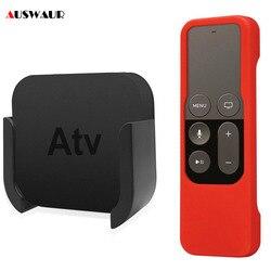 Настенный кронштейн-держатель для Apple TV 4-го 5-го поколения, подставка для медиаплеера, держатель + контроллер, силиконовый защитный чехол