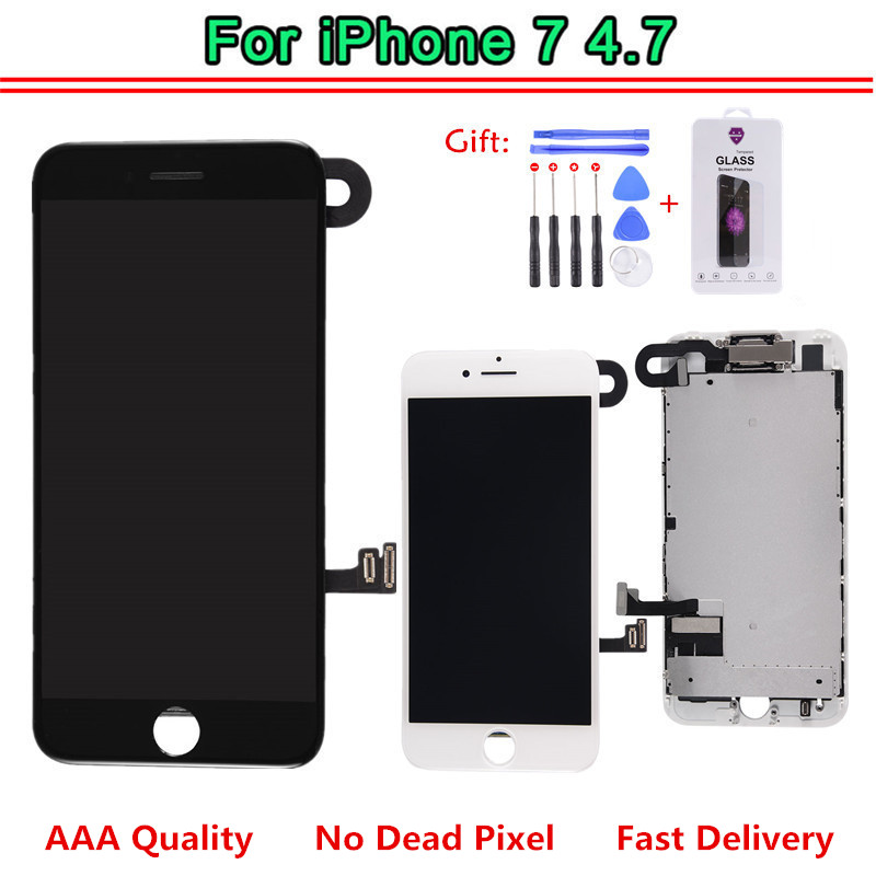 EBS AAA Quality For iPhone 7 LCD Display Touch Screen Digitizer Full Assembly Frame Front Camera