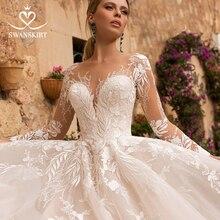 Swanskirt Long Sleeve Wedding Dress2020 Princess sweetheart  A Line Appliques Court Train Bride Gown vestidos de novia N102
