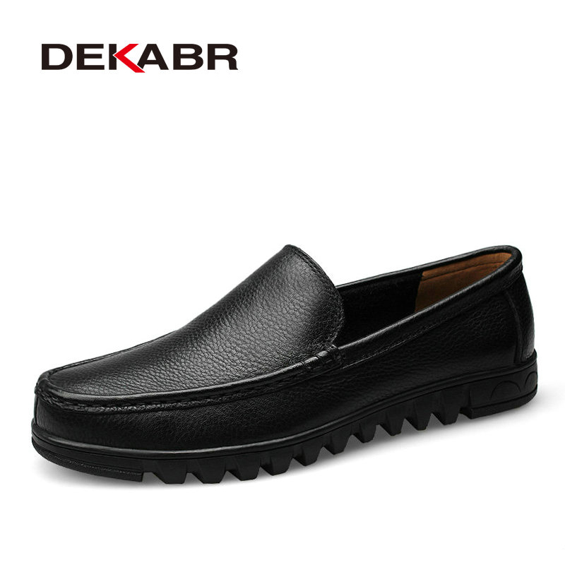 DEKABR Big Size 37 48 2019 Men Shoes Genuine Leather Black Brown Men Flat Shoes Classic