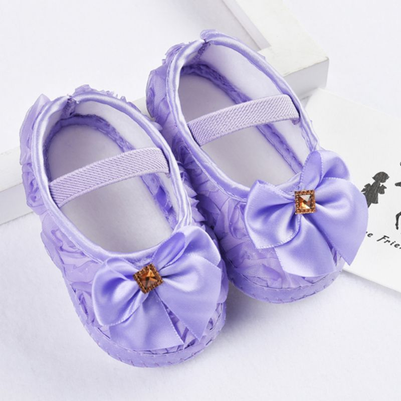 Soild Color Autumn Butterfly-knot Baby Girls Flower Princess Shoes Infant Soft Slip-On Kid Shoes First Walkers Girl Shoes