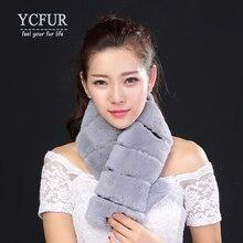 YCFUR Brand Design Women Fur Scarves Winter 2016 Full Pelt Genuine Rex Rabbit Fur Scarf Collar Real Rabbit Fur Wraps Winter