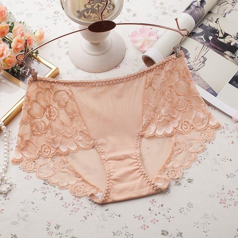 KJ58   Women's Seamless Girls Briefs Shorts Lace Underwear Mid Waist Transparent Panties Women's Intimates