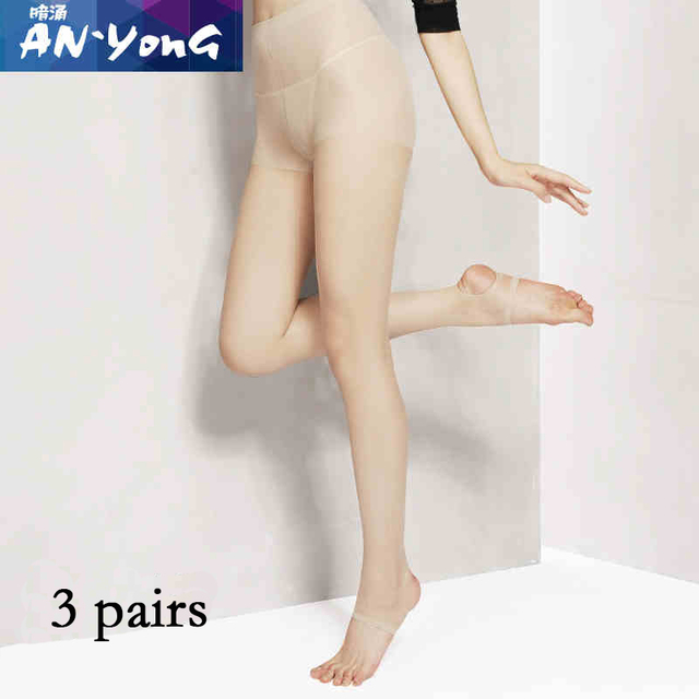 3 pcs Women's Sex Thick invisible Stretch Long Soft Autumn SpringNylon black and skin Color tights