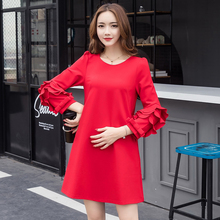2018 Elegant Woman Dress Elegant Maternity Dress For Pregnant Woman Clothes  Loose Ruffles Red Dress Europe Style Plus Size d752d3136c56