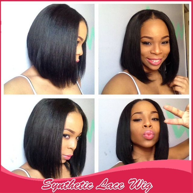 478578bf46510a Nice short wigs 10-16 inch Available Bob Wigs Synthetic Lace Front Wigs  Middle Part Natural Hairline Wigs