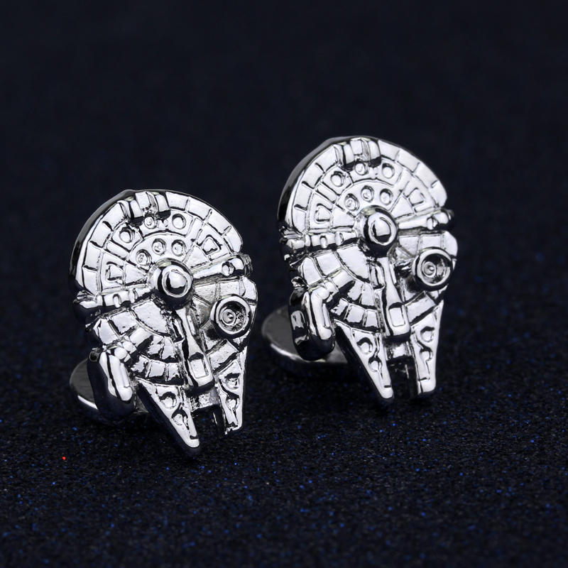 Women Fashoin Jewelry Cuff Button Tie clip Star Wars Millenium Falcon Cufflinks pins Cuff Links (4 colors)