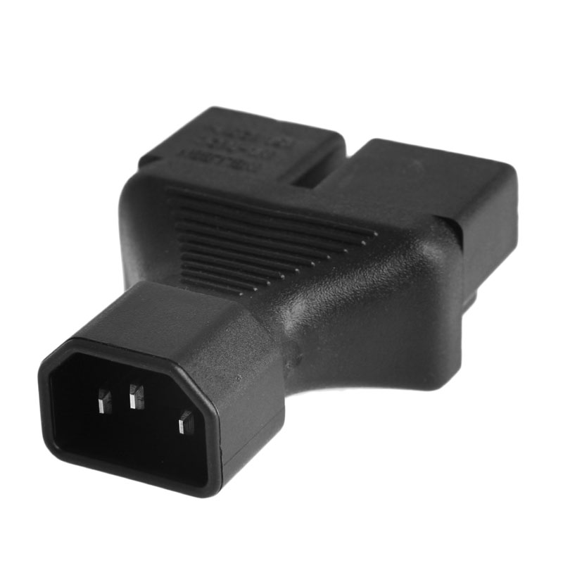 IEC 320 C14 Male To 2x US 3-Pin Nema 5-15R Female Y Splitter Adapter Converter L15 free shipping iec 320 c14 to 2x nema 5 15r y splitter adapter c14 to nema 5 15r ac plug converter wpt604